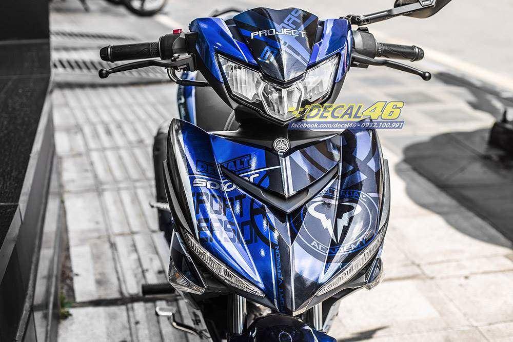 Tem xe Exciter 150 - 499 - Tem xe thiết kế Shadow chrome xanh bạc đen