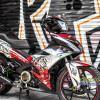 Tem xe Exciter 150 - 496 - Tem xe thiết kế Bulldog new candy trắng đỏ