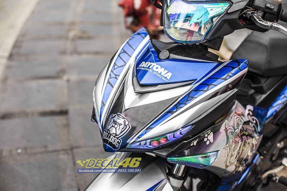 Tem xe Exciter 150 - 497 - Tem xe thiết kế Bulldog new candy xanh bạc