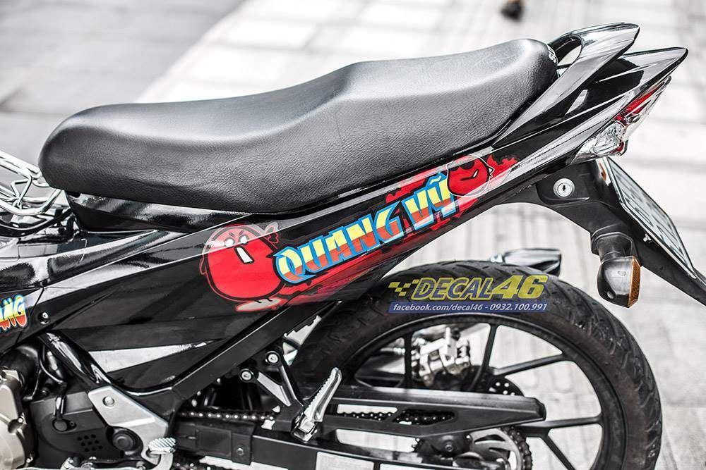 Tem xe Raider - Tem xe thiết kế Hạt đậu candy đỏ đen
