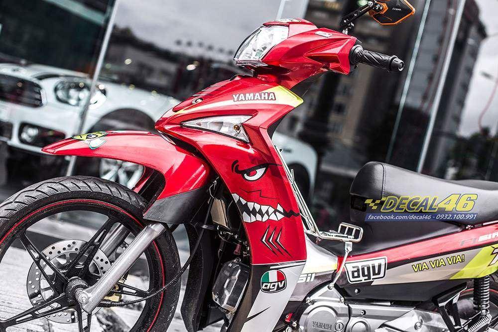 Tem xe Yamaha Sirius - 240 - Tem xe thiết kế Shark candy đỏ đen