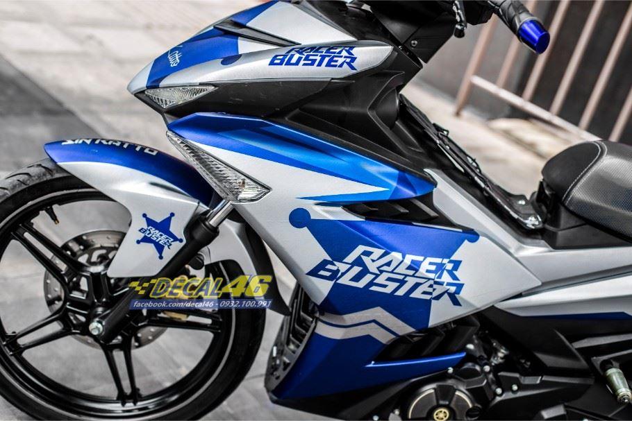 Tem xe Exciter 150 – Tem xe thiết kế nhôm xước bạc Racer Buster