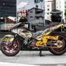 Tem xe Exciter 150 – 490 – Tem xe thiết kế nhôm xước đen vàng Tiger