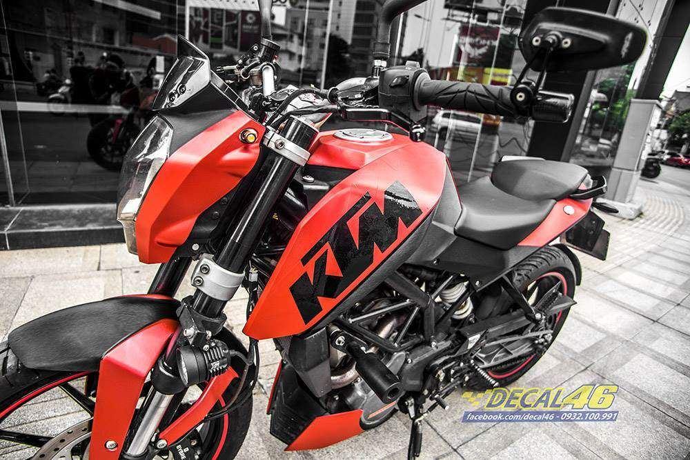 Tem xe KTM - DUKE - Tem xe thiết kế DUKE Nhôm xước đỏ đen