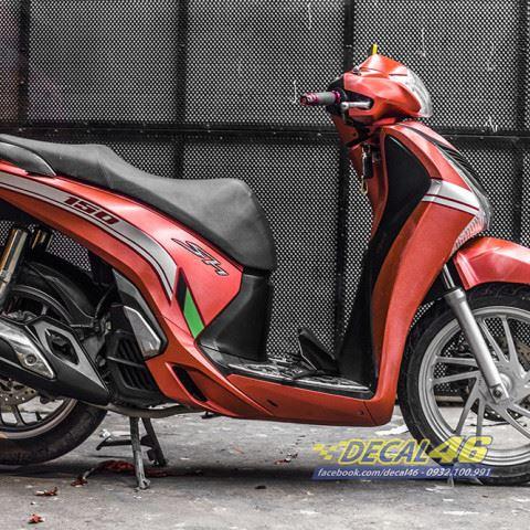 Tem xe Honda SH - Tem xe thiết kế Edition đỏ xước