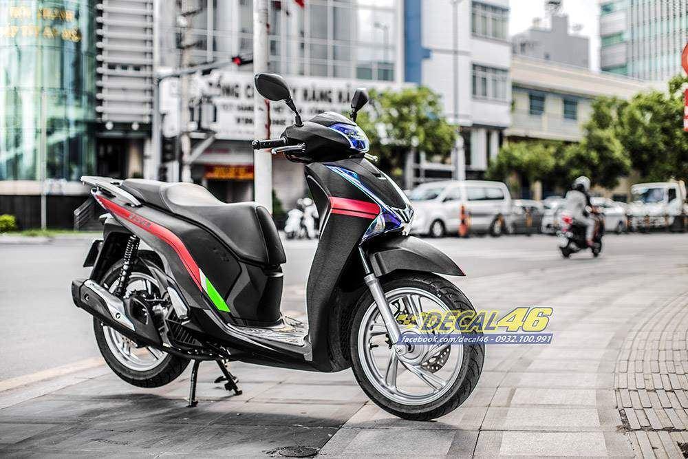 Tem xe Honda SH - Tem xe thiết kế Black Edition đen xước