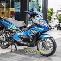 Tem xe Airblade 16 Honda - 080 - Tem xe thiết kế Angry Shark candy xanh đen