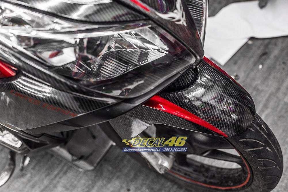 Tem xe Honda Airblade 2011 - 15 - Tem xe thiết kế Carbon 5D Light đỏ