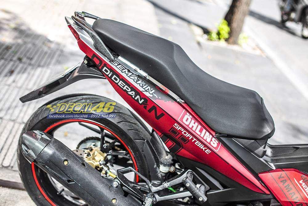 Tem xe Exciter 150 - 502 - Tem xe thiết kế Ohlins đỏ đen nhôm