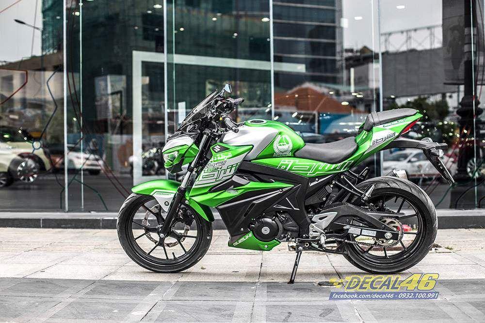 Tem xe GSX S150 - 11 - Tem xe thiết kế Dubai nhôm xanh lá