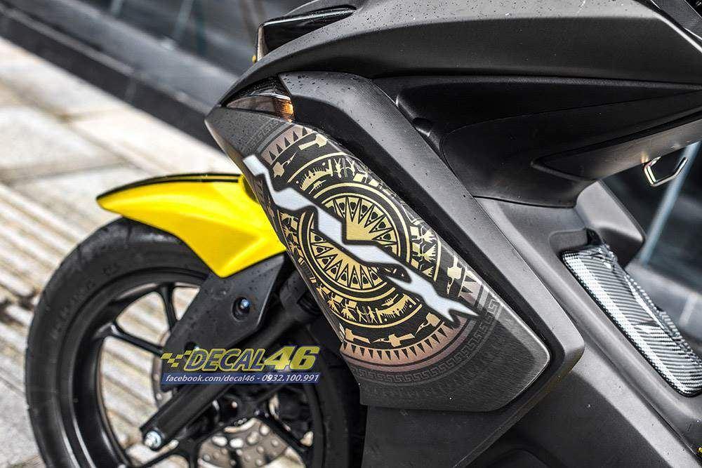 Tem xe NVX - 44 - Tem xe thiết kế Nhôm xước vàng đen trống đồng