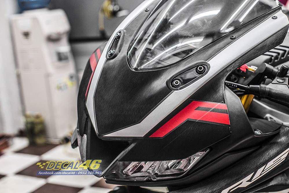 Tem xe PKL - Tem xe R15 Racing nhôm xước đen