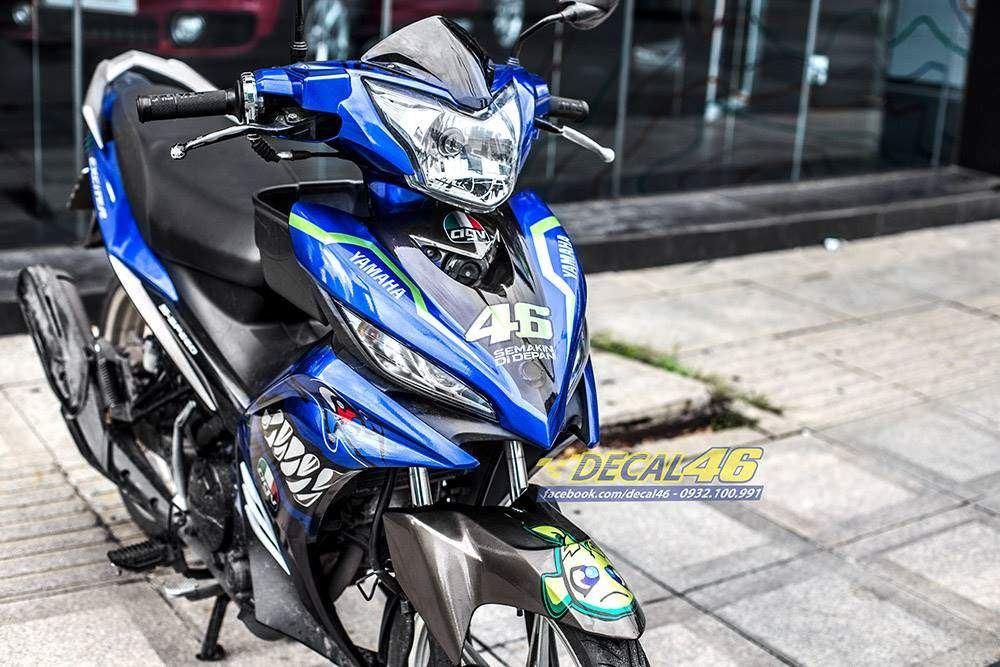 Tem xe exciter 135 Yamaha - 245 - Tem xe exciter 135 thiết kế Cá mập candy xanh bạc