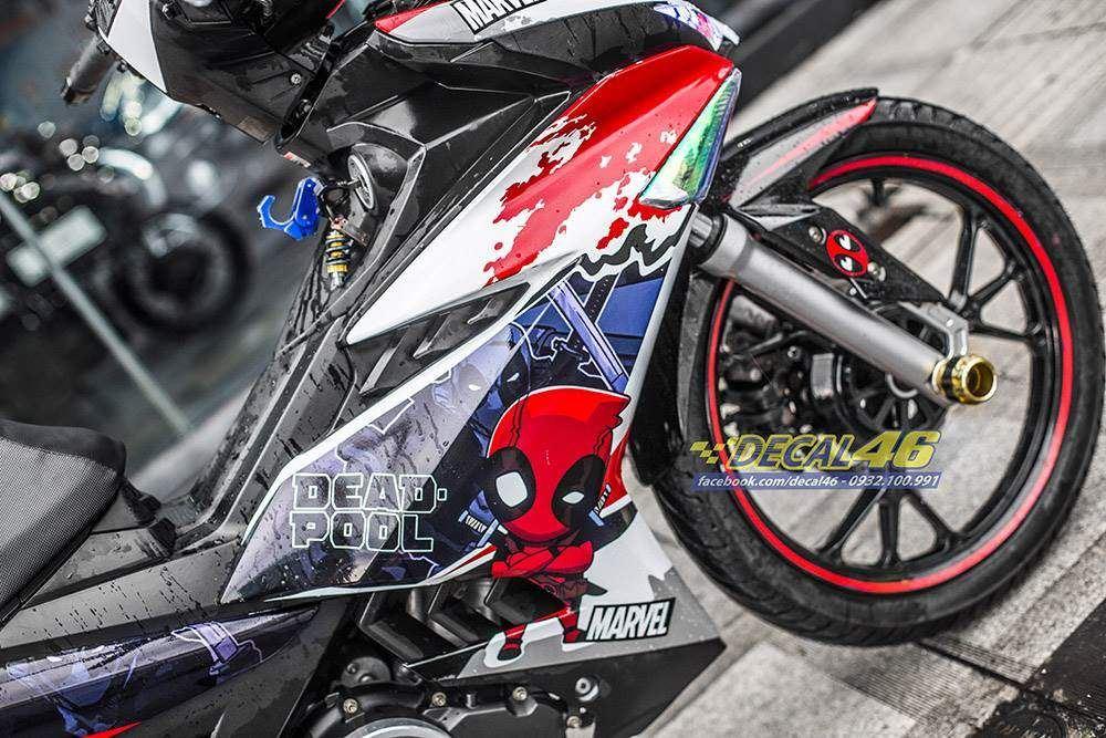Tem xe Exciter 150 - 503 - Tem xe thiết kế Deadpool candy trắng đỏ đen