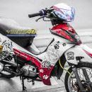 Tem xe Yamaha Sirius – 242 – Tem xe thiết kế Bulldog trắng đỏ