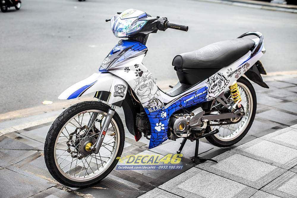 Tem xe Yamaha Sirius - 243 - Tem xe thiết kế Bulldog xanh trắng