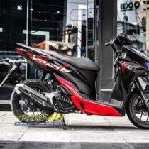 Tem xe Vario - 045 - Tem xe thiết kế Chrome đỏ đen Indo zin