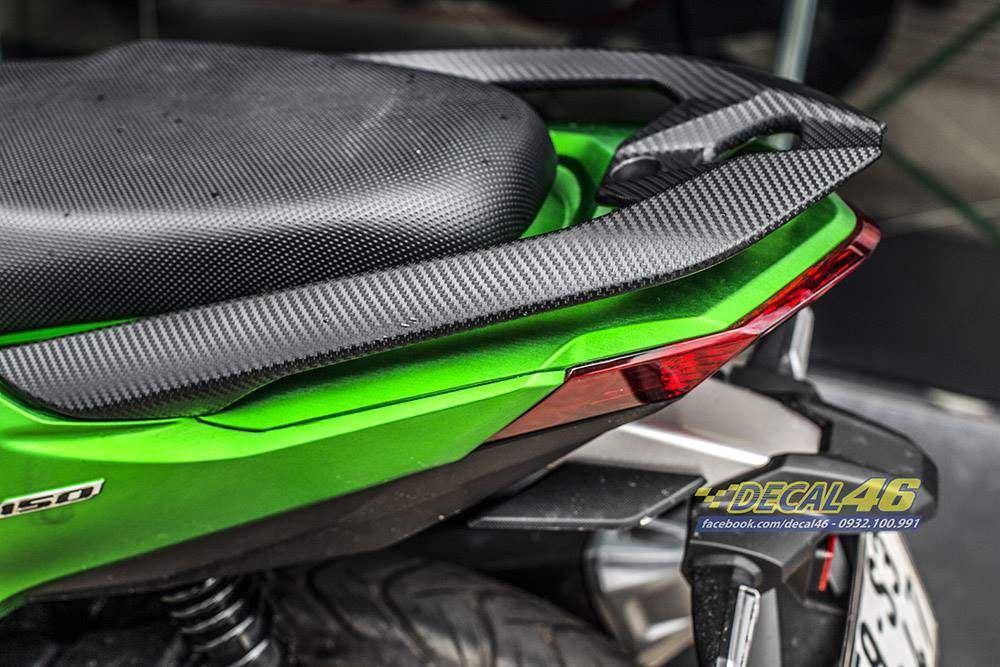 Tem xe Vario - 042 - Tem xe thiết kế 2018 nhôm xước xanh lá