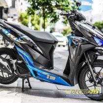 Tem xe Vario - 048 - Tem xe thiết kế Indo chrome xanh đen