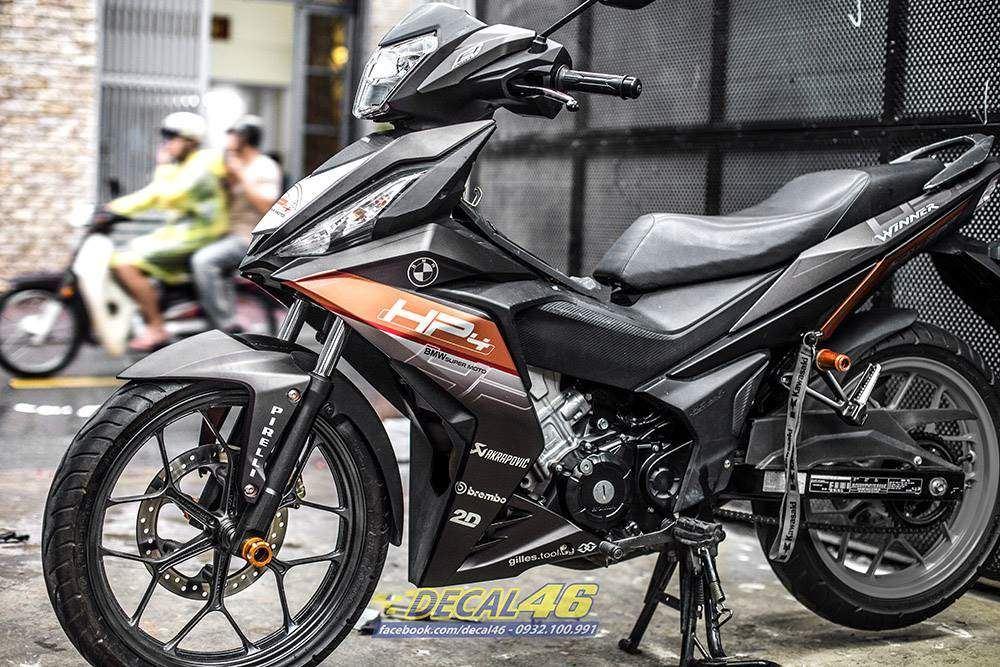 Tem xe Winner 150 - 372 - Tem xe Winner thiết kế HP4 nhôm cam đen