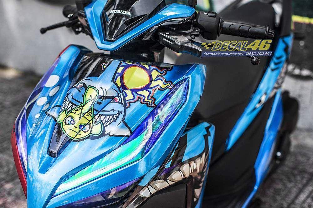 Tem xe Vario - 059 - Tem xe thiết kế Shark xanh candy
