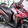 Tem xe Vario - 057 - Tem xe thiết kế One Piece đen đỏ nhôm