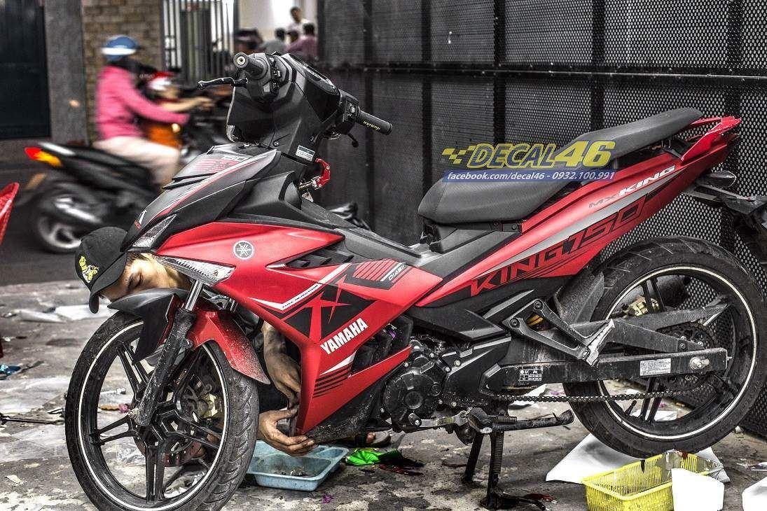 Tem xe Exciter 150 - 511 - Tem xe thiết kế MXKing đỏ đen Zin Indo nhôm