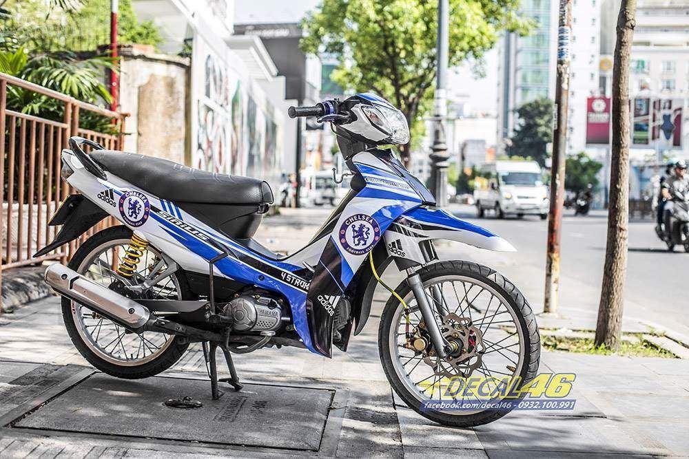 Tem xe Yamaha Sirius - 249 - Tem xe thiết kế Chelsea xanh trắng