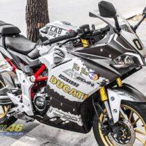 Tem xe Demon - Tem xe thiết kế Ducati mini nhôm