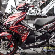 Tem xe Airblade 16 Honda - 083 - Tem xe thiết kế Bulldog đỏ đen
