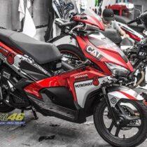 Tem xe Airblade 16 Honda - 084 - Tem xe thiết kế Petronas nhôm đỏ đen