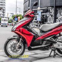 Tem xe Honda Airblade 125 - 063 - Tem xe thiết kế Đỏ đen chrome