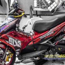 Tem xe Honda Airblade 125 - 066 - Tem xe thiết kế Transformer đen đỏ nhôm