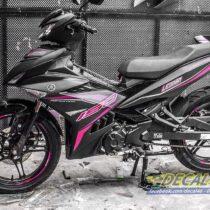 Tem xe Exciter 150 2019 - Tem xe thiết kế RC nhôm đen hồng