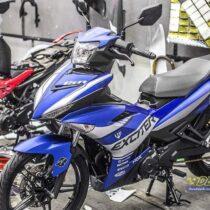 Tem xe Exciter 150 - 518 - Tem xe thiết kế Ducati nhôm xanh bạc