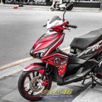 Tem xe Airblade 16 Honda - 082 - Tem xe thiết kế Bulldog nhôm xước đỏ đen