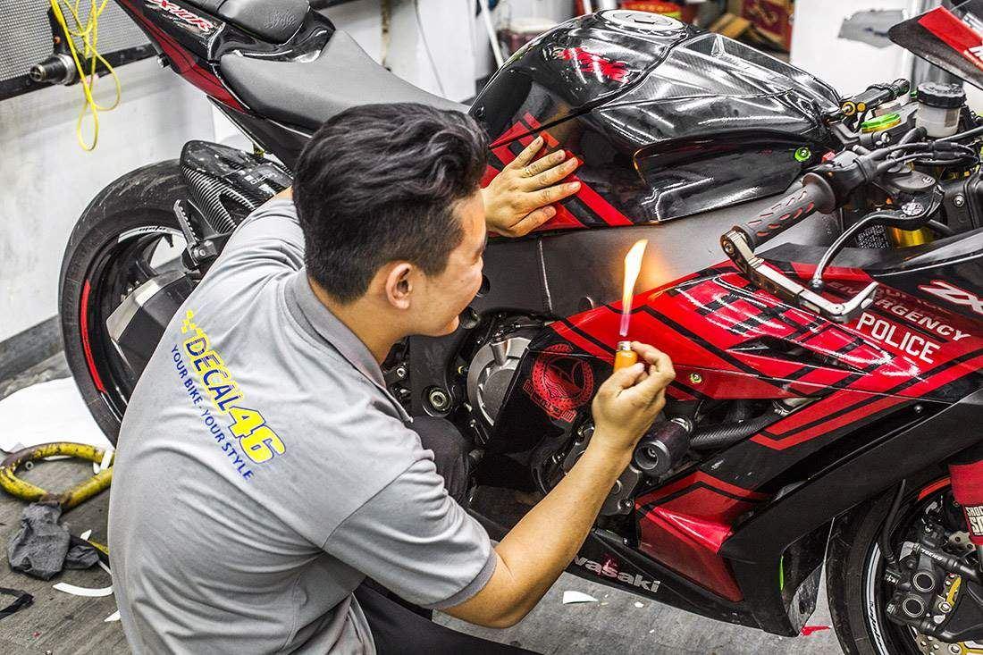 Tem xe Zx10r - Tem xe thiết kế Dubai đen đỏ