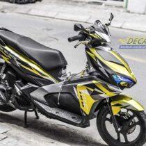 Tem xe Airblade 16 Honda - 090 - Tem xe thiết kế Broken Mirror nhôm vàng đen
