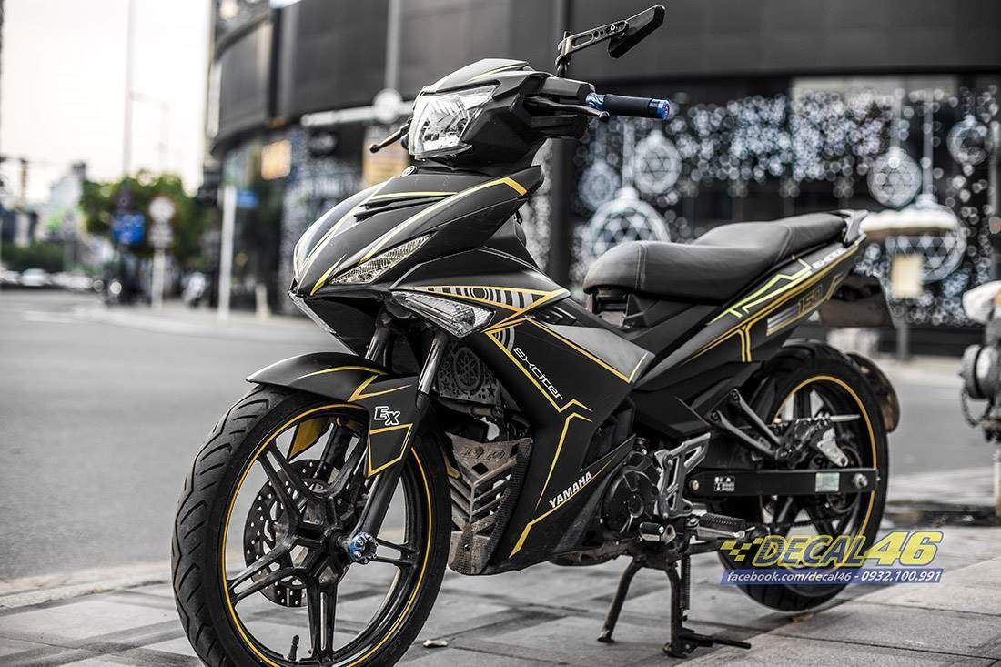 Tem xe Exciter 150 - 521 - Tem xe thiết kế Slider nhôm đen vàng