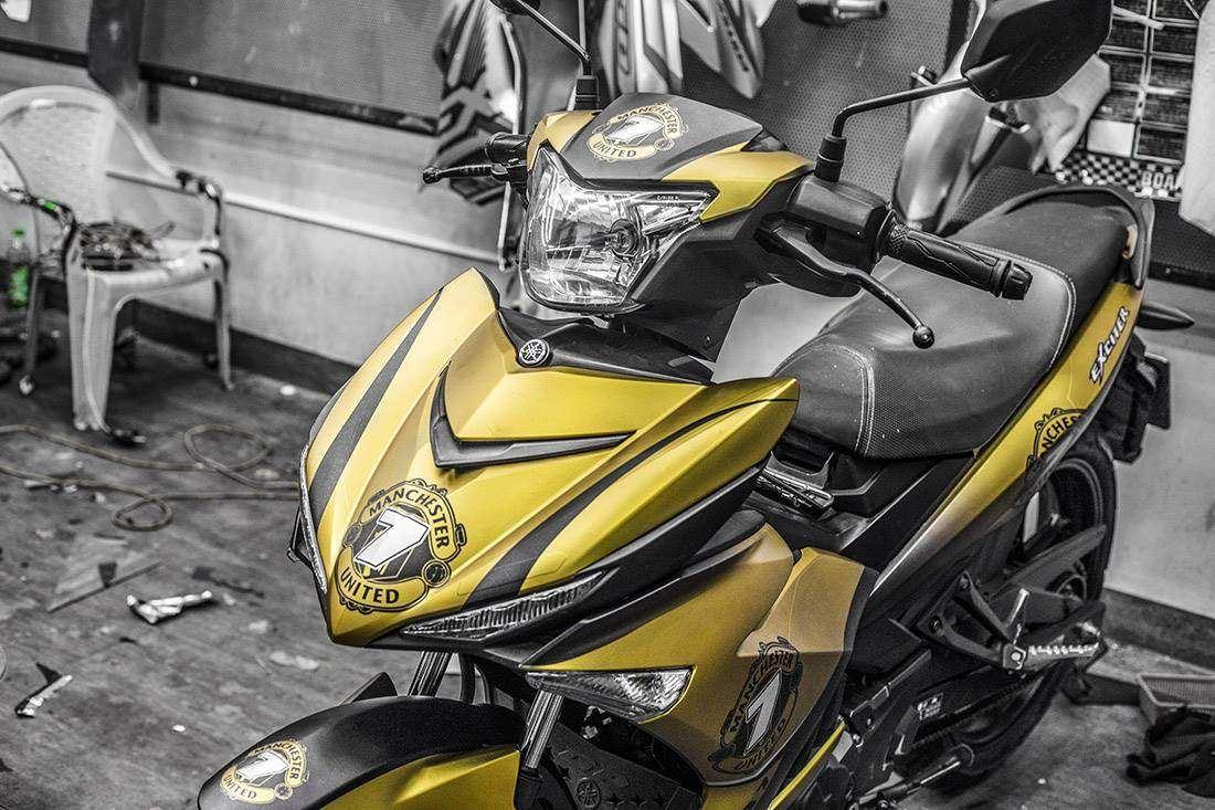 Tem xe Exciter 150 - 531 - Tem xe thiết kế Vàng đen nhôm số 7