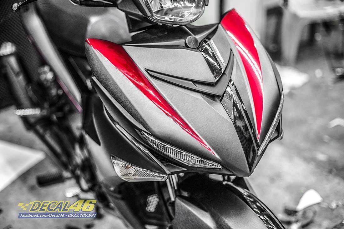 Tem xe Exciter 150 - 528 - Tem xe thiết kế Edition xám đỏ xước