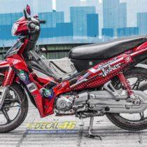 Tem xe Yamaha Sirius - 261 - Tem xe thiết kế Joker candy đỏ