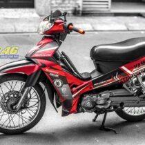 Tem xe Yamaha Sirius - 257 - Tem xe thiết kế Monster nhôm đen đỏ