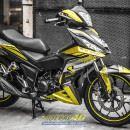 Tem xe Winner 150 – 448 – Tem xe Winner thiết kế Motocross nhôm xước vàng đen