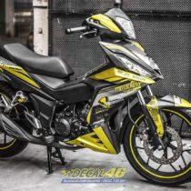Tem xe Winner 150 - 448 - Tem xe Winner thiết kế Motocross nhôm xước vàng đen