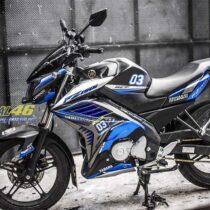 Tem xe FZ150i - 096 - Tem xe thiết kế nhôm xước xanh đen