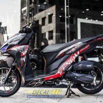 Tem xe Vario - 098 - Tem xe thiết kế Venom nhôm đen đỏ