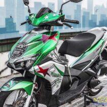 Tem xe Airblade 16 Honda - 094 - Tem xe thiết kế Heineken candy xanh trắng