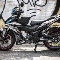 Tem xe Winner 150 - 455 - Tem xe Winner thiết kế Motocross nhôm xước đen bạc