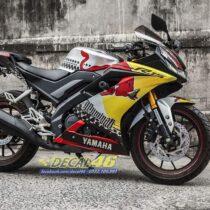 Tem xe Yamaha - Tem xe R15 Redbull nhôm xước